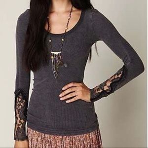 Free People Navy Blue Crafty Cuff Thermal